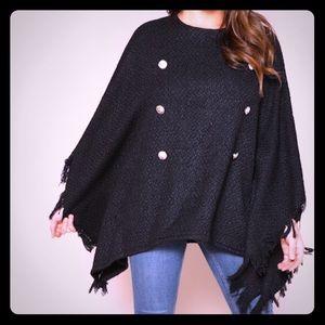 Sweaters - FRAYED TRIM PONCHO